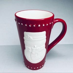 Hallmark Coffee Mug Red White Embossed Snowman